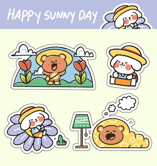 Cute adorable happy sunny day animal sticker doodle  illustration