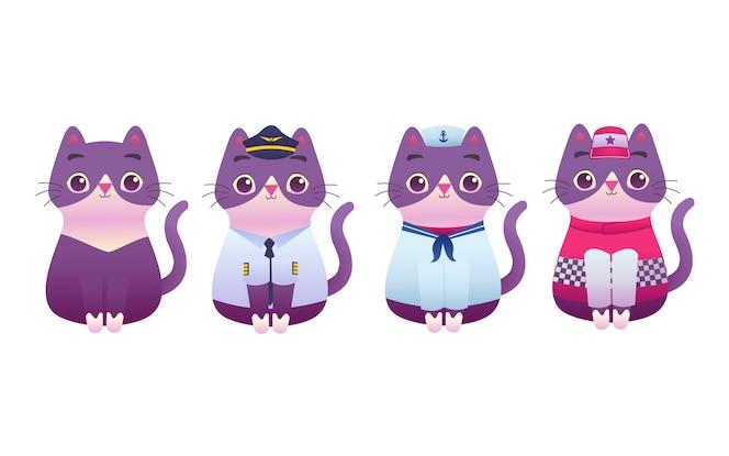 귀여운 사랑스러운 키티 고양이 전문 작업자 마스코트 현대 평면 그림 문자, 조종사, 선원, 경주자, 정비공