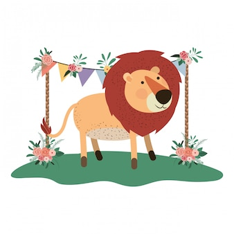 Cute and adorable lion with floral frame