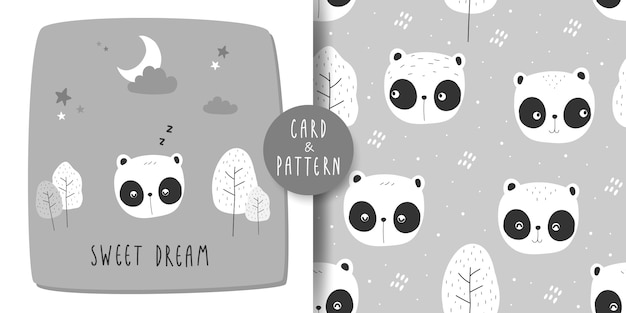 Cute adorable panda bear cartoon doodle card and seamless pattern