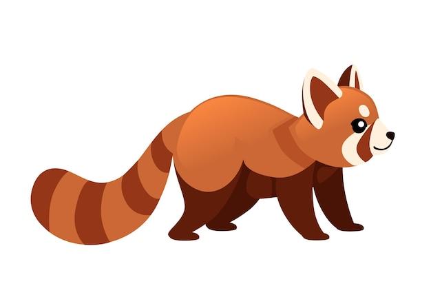 かわいい愛らしいレッサーパンダ漫画デザイン動物キャラクタースタイルイラスト