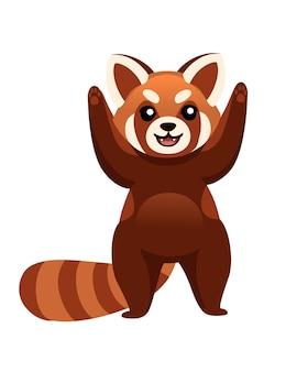 かわいい愛らしいレッサーパンダは、漫画のデザインの動物のキャラクタースタイルのイラストを手渡します