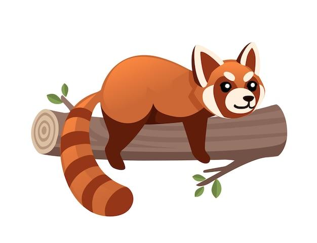 かわいい愛らしいレッサーパンダは、木製の丸太の漫画のデザインの動物のキャラクタースタイルのイラストにあります