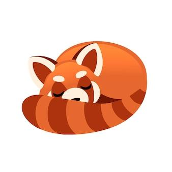 かわいい愛らしいレッサーパンダ睡眠漫画デザイン動物キャラクタースタイルイラスト