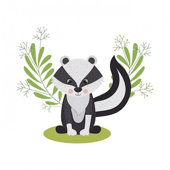 Cute and adorable skunk with wreath