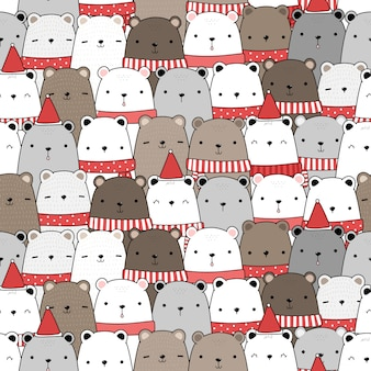 Cute adorable teddy bear merry christmas and happy new year cartoon doodle seamless pattern