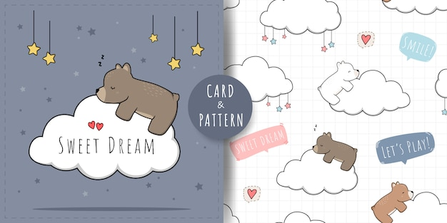 Cute adorable teddy polar bear sleeping on cloud seamless pattern and card set