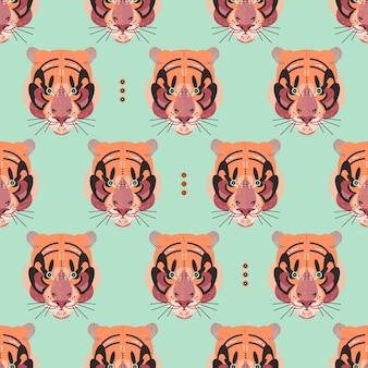 Симпатичные очаровательные лица тигра в бесшовные модели