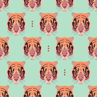 Cute adorable tiger faces in a seamless pattern