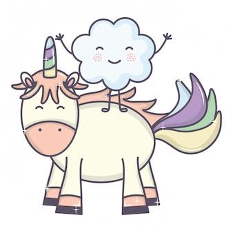 귀여운 사랑스러운 유니콘과 구름 귀엽다 요정 캐릭터
