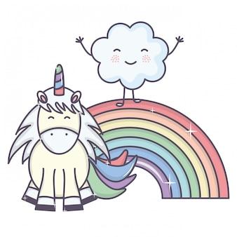 Милый очаровательный единорог с облаками и радугой