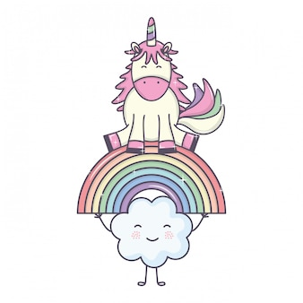 Cute adorable unicorn with clouds and rainbow