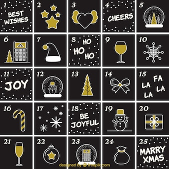 Cute advent calendar of drawings in slate effect