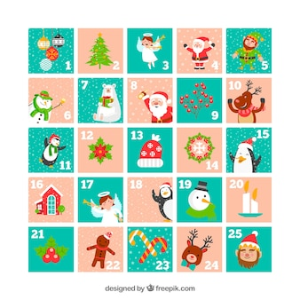 Cute advent calendar in light pink and turquoise
