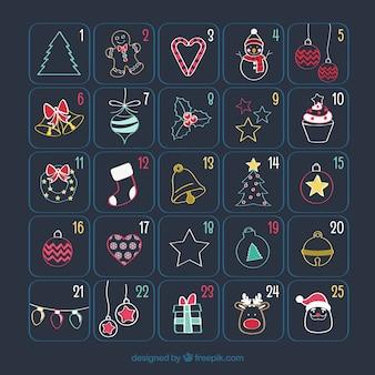 クリスマスの図面とかわいいアドベントカレンダー