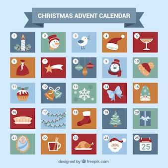 Симпатичный календарь появления с рождественских элементов