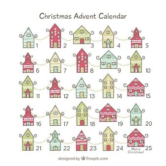Cute advent calendar with christmas houses