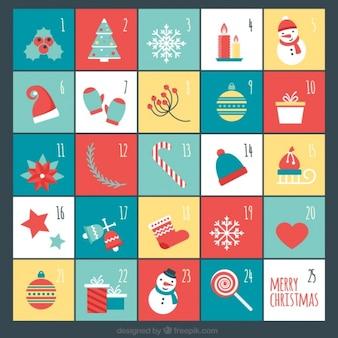 Симпатичный календарь появления с плоскими элементами рождество