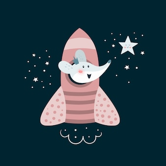 Cute adventure mouse go to the space