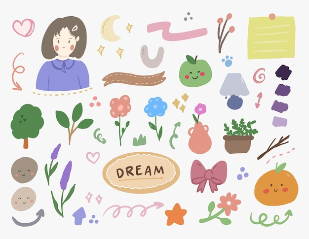 Cute aesthetic korean sticker set with girl and flower doodle art for bullet journal notes element