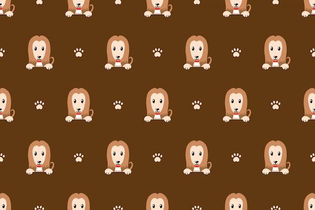 Cute afghan hound dog seamless pattern