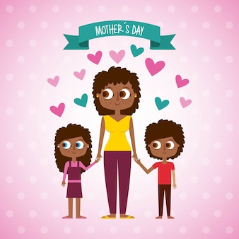 Cute afraomerican woman and kids mothers day