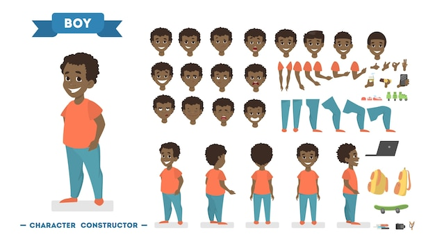 さまざまなビュー、ヘアスタイル、顔の感情、ポーズ、ジェスチャーでアニメーション用に設定されたオレンジ色のtシャツと青いパンツのかわいいアフリカ系アメリカ人の少年キャラクター。漫画のスタイルの分離ベクトルイラスト