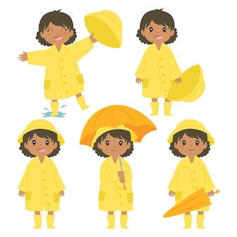 Cute african american girl in yellow raincoat vector set