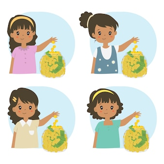 Cute african american girls saving money in a glass jar vector set.