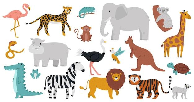 귀여운 아프리카 동물. 나무, 정글 또는 사바나 동물, 표범, 기린, 하마, 악어 및 얼룩말.