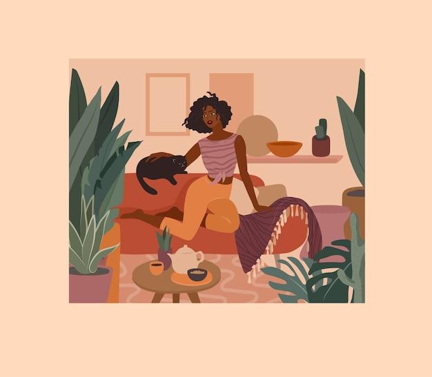소파에 고양이 함께 쉬고 귀여운 아프리카 소녀. 홈 플랜트가있는 홈 인테리어의 젊은 여성의 일상 생활과 일상 장면. 만화 그림