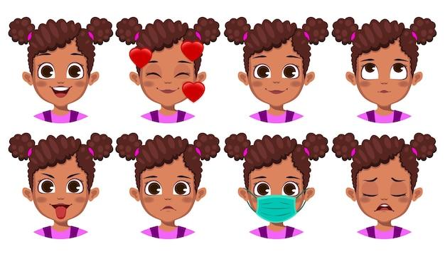 Симпатичная африканская девушка с различным выражением лица