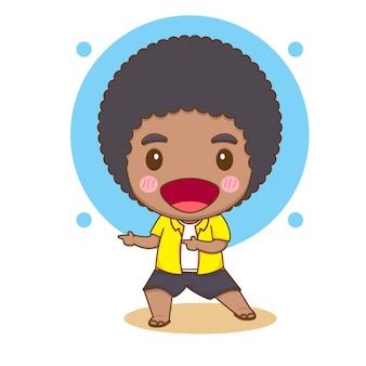 Симпатичный афро-мальчик чиби персонаж иллюстрации