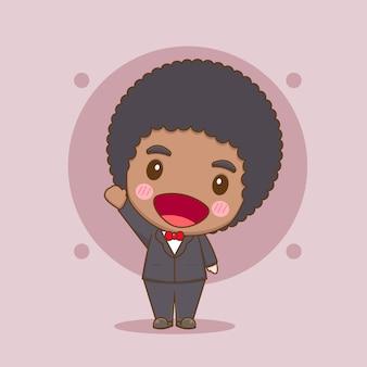 Милый афро мальчик в строгом костюме чиби персонаж иллюстрации