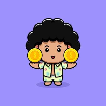 Милый афро мальчик с иллюстрацией шаржа монеты