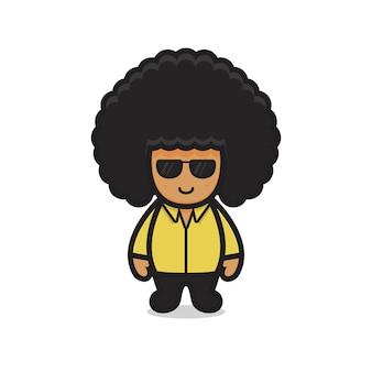 Симпатичный афро-персонаж мальчик в очках. дизайн, изолированные на белом фоне.