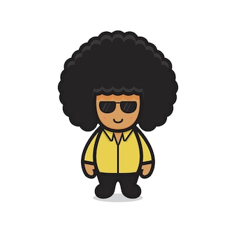 Cute afro character boy wear glasses. design isolated on white background.