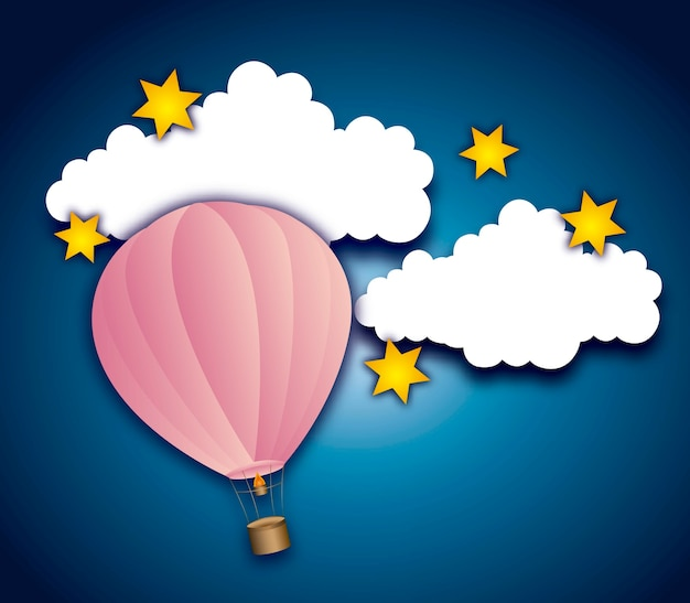 Cute air balloon with clouds and stars
