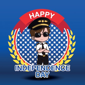 Cute air force pilot cartoon charactor., happy independen day.