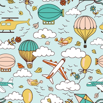 Cute air seamless pattern with hot air balloons, birds and clouds