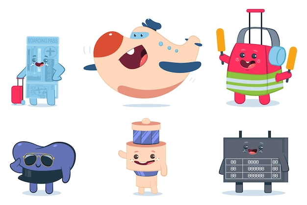 Симпатичные персонажи мультфильмов аэропорта установлены изолированные