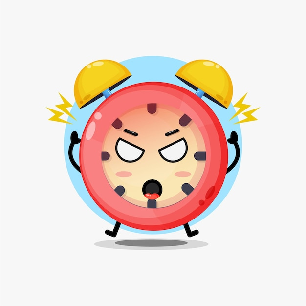 Cute alarm clock character is angry