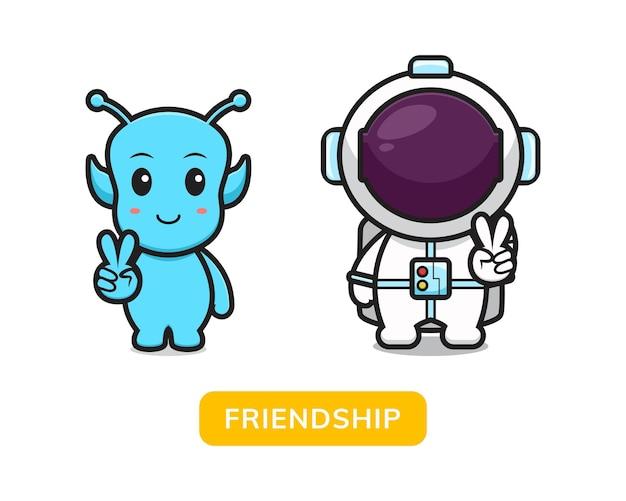 かわいいエイリアンと宇宙飛行士は友情漫画ベクトルアイコンイラストを作成します。デザインは分離されました。フラットな漫画のスタイル。