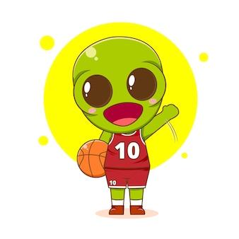 Cute alien as a basket player