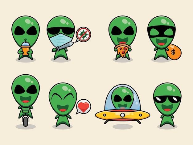 Симпатичный инопланетный ребенок векторный дизайн