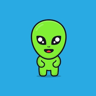 Cute alien cartoon illustration