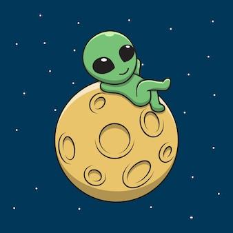 Cute alien cartoon relaxing on the moon.