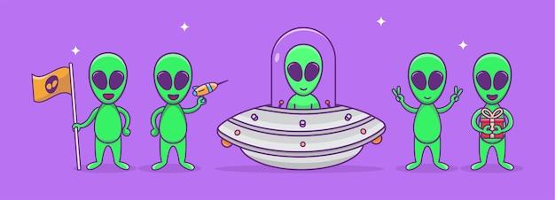 かわいいエイリアン漫画セット。レーザーを保持している緑のエイリアン、エイリアン文字セット。