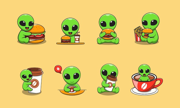 Cute alien cartoon with burger and coffee