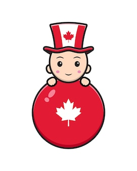 Cute alien character celebrated canada day illustration